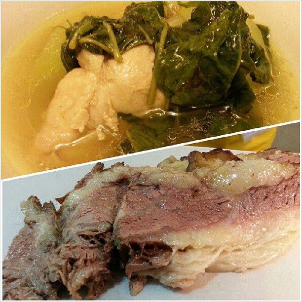 #tinolangmanok and #roastbeef for #dinner #filipino #food #yummy #beef #chicken #soup #philippines #フィリピン #料理 の#チキンスープ #ローストビーフ #晩ごはん