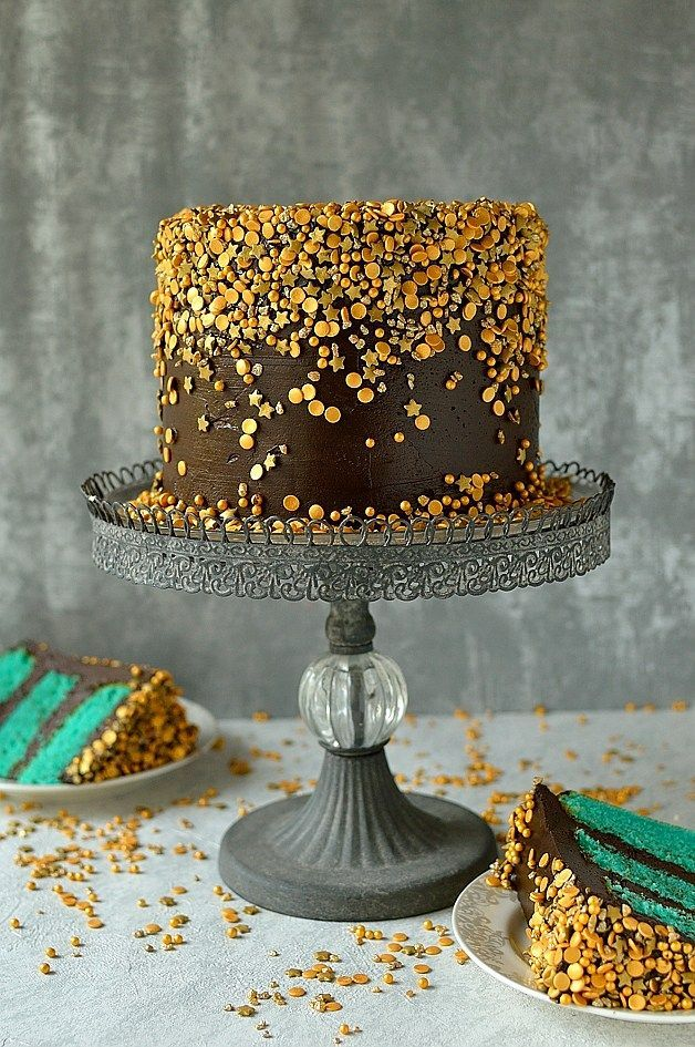 Chocolate & vanilla gold sprinkles cake - velvety American white cake dyed turquoise with fudgy chocolate buttercream & a cascade of gold sprinkles