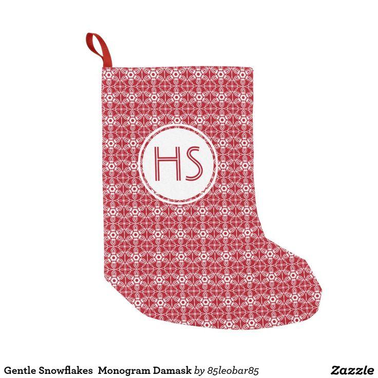 Gentle Snowflakes  Monogram Damask Small Christmas Stocking