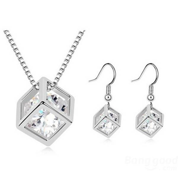 Austrian Crystal Zircon Square Cube Necklace Earrings Jewelry Set