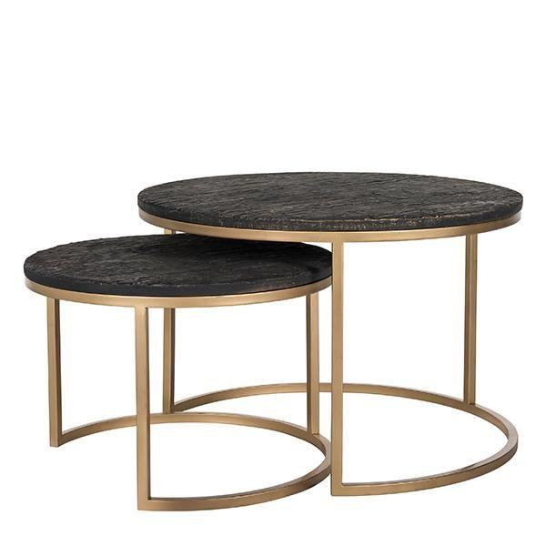 Suri Modern Industrial Nest Of Coffee Tables In Mango Wood Metal
