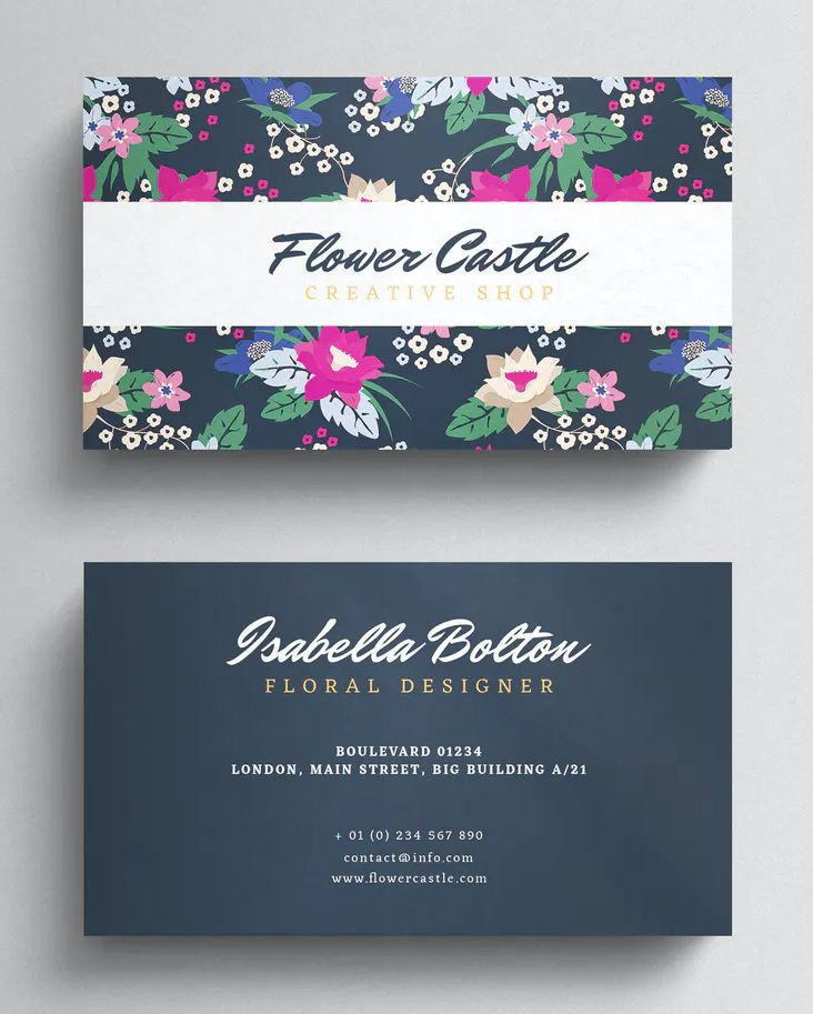 Floral Business Card Template Psd Floral Business Cards Business Card Template Psd Business Card Template Design
