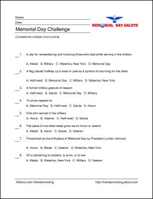 Memorial Day Wordsearch, Crossword Puzzle, and More: Memorial Day Challenge