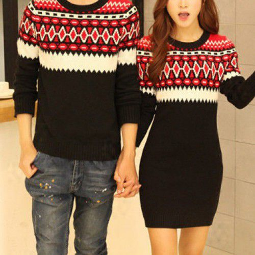 Cute winter idea for couples. Her dress matches his top.