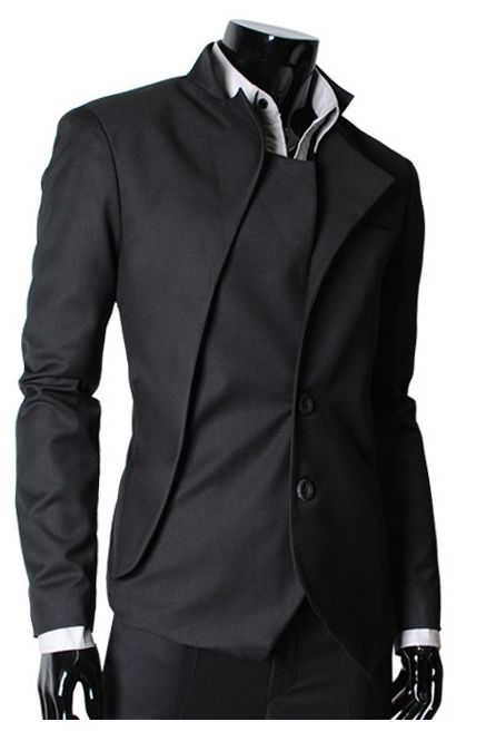 The Lees Shop: Mens unbalance 2 button china collar jacket BLACK