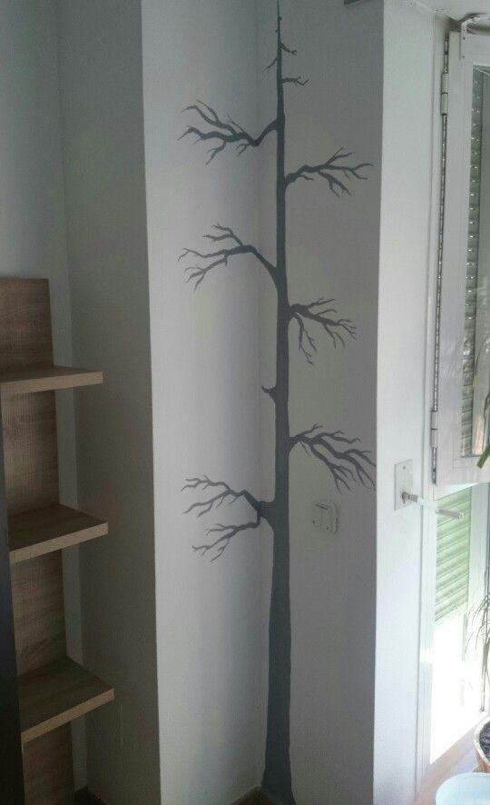 Decoraci n sal n silueta rbol pintura acrilica sobre for Decoracion pintura salon