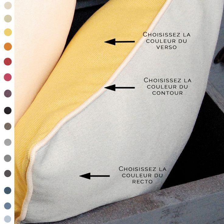 Coussin personnalisable. Choisissez la couleur de la face recto, de la face verso et du passepoil.  #coussin #personnalisable #custom #déco