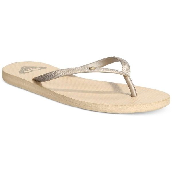 Roxy Bermuda Flip-Flop Sandals ($19) ❤ liked on Polyvore featuring shoes, sandals, flip flops, gold, gold strap shoes, gold shoes, strap sandals, strappy sandals and roxy shoes