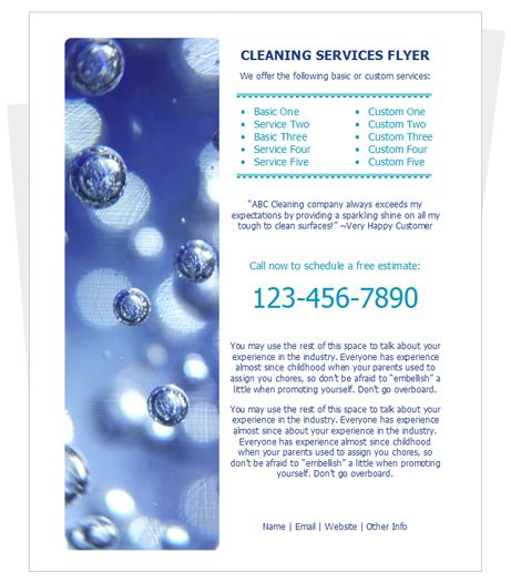 Cleaning Brochure Template Cleaning Services Brochure Template - house cleaning flyer template