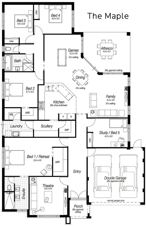 Single Storey House Designs Perth | The Maple | Ross North Homes  Modern  House PlansDream House PlansHouse Floor ...