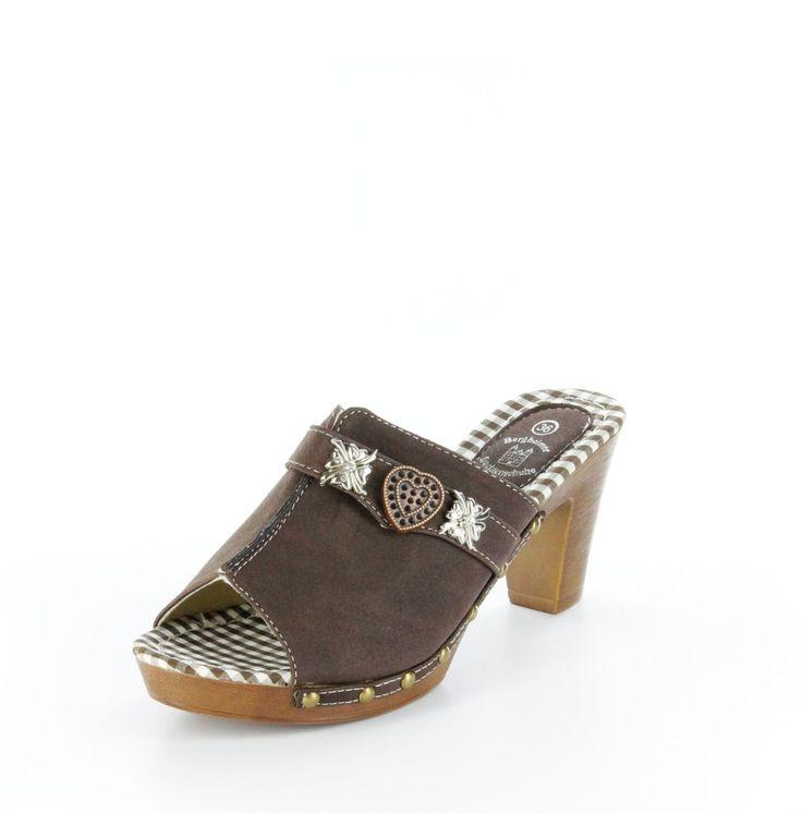 Unser #Schuh des Tages: Schöne #Trachten #Pantoletten die du bestimmt lieben wirst. Bergheimer #Trachtenschuhe, #Damen Trachten Pantoletten – Almrausch – dunkelbraun; in 360° Ansicht
