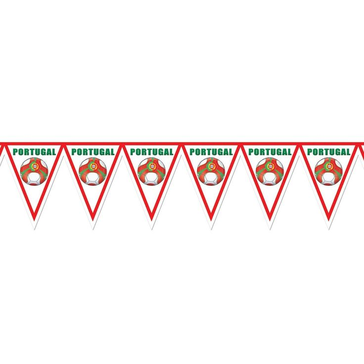 """Pack of 6 Red, Green and White """"Portugal"""" Soccer Themed Pennant Banner Party Decorations 7.4'"""