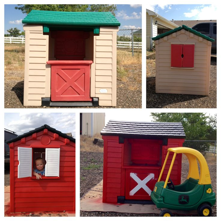 Little Tikes house makeover with a John Deere cozy coupe.
