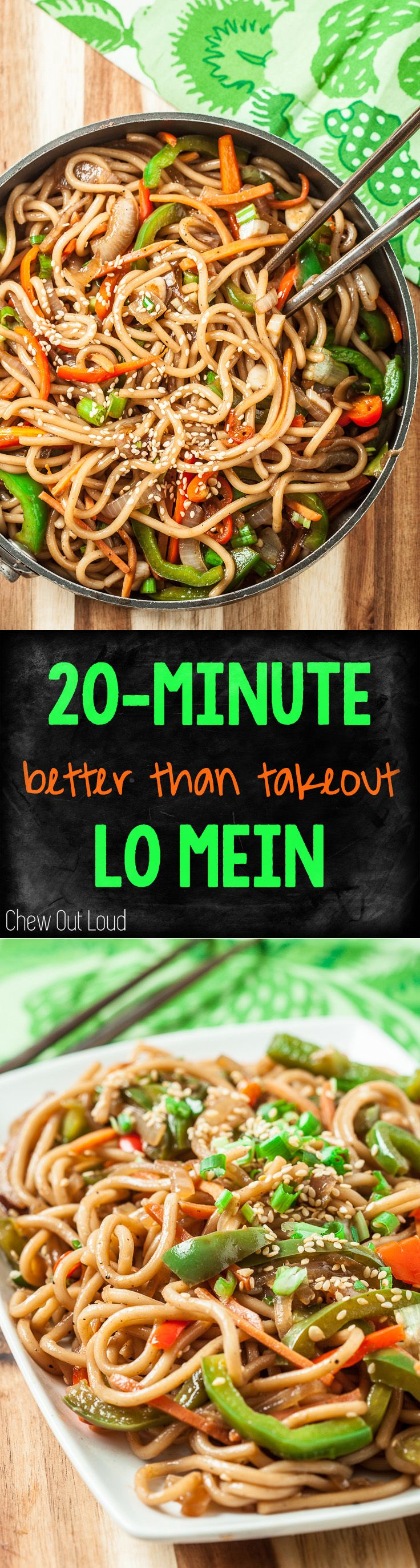 20-Minute Lo Mein. WAY Better than Takeout. Healthy, clean, vegetarian (or not.) #lomein #asianfood #noodles #pasta www.chewoutloud.com