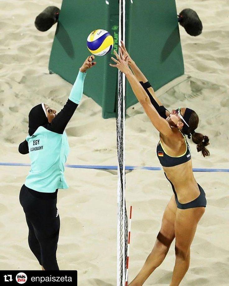 #Repost @enpaiszeta with @repostapp  El partido entre Egipto y Alemania de vóley playa femenino dejó este domingo una de las imágenes más sorprendentes de la segunda jornada de competición en los Juegos Olímpicos de Río 2016.  La pareja egipcia formada por Doaa Elghobashy y Nada Meawad se enfrentaba en la arena de Copacabana a la dupla germana de Laura Ludwig y Kira Walkenhorst. El partido además de su trascendencia para el futuro de ambos equipos en la competición fue relevante a nivel de…