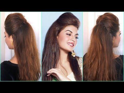 QUICK & EASY BIG PUFF HAIRSTYLE (HALF UP HALF DOWN HAIR TUTORIAL) DIY BOLLYWOOD HAIRSTYLES ZU HAUSE