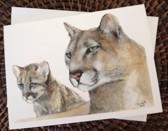 Cougar and Cub Fathers Day Blank Greeting Card on Etsy, $4.00 CAD