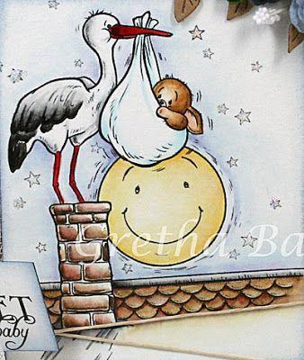 """Corner of the map Gretha: Cuddly Buddly """"Special Delivery"""" -  Distress & H2O: stork (stork) - black soot, black china H2O, H2O poppy nappy (diaper?) - tumbled glass small Toby (little Toby) - vintage photo lunar (moon) - scattered straw roof (roof) - pumice stone, burnt amber H2O, H2O cedar woods background (background) - faded jeans"""