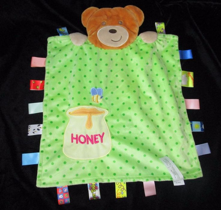Taggies Bear Honey Green Polka Dot Tags Baby Security Blanket Lovey #Taggies