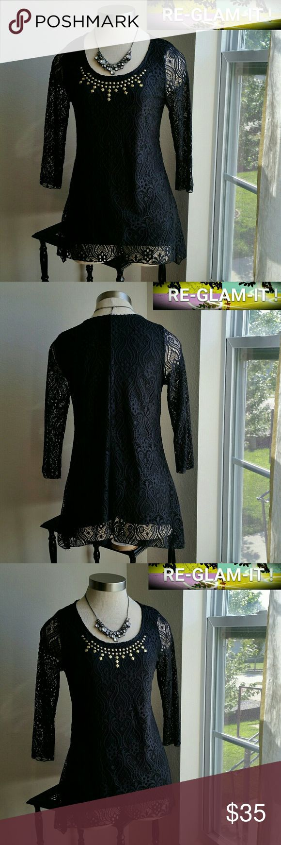 BRITTANY BLACK. ..NEW LISTING ..GORGEOUS TOP ...ADDING INFO SOON..EXCELLENT CONDITION...NORMAL WEAR...NO FLAWS..CROCHET DESIGN THROUGHOUT...LOOSE FEEL BRITTANY BLACK Tops Blouses