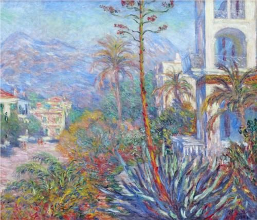 Villas at Bordighera -Claude Monet, 1884 Musée d'Orsay, Paris, France  http://www.musee-orsay.fr/en/  In 1883, Monet went with Renoir on a brief trip to the Mediterranean Italian Riviera. Monet obtained a letter of introduction to M. Moreno, the owner of the Bordighera estate where he painted five landscapes