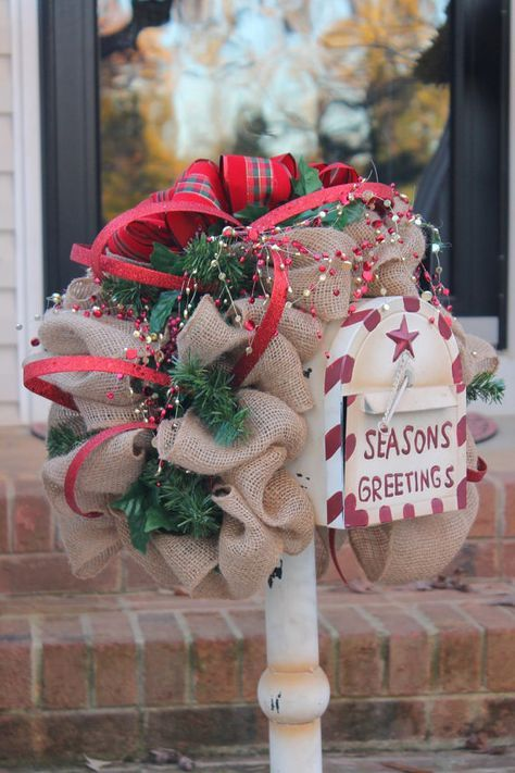 This one of a kind Christmas swag works perfect outside on your mailbox. This a unique mailbox topper...this swag will definitely make a