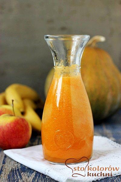 Koktajl: dynia-jabłko-banan-marchewka.