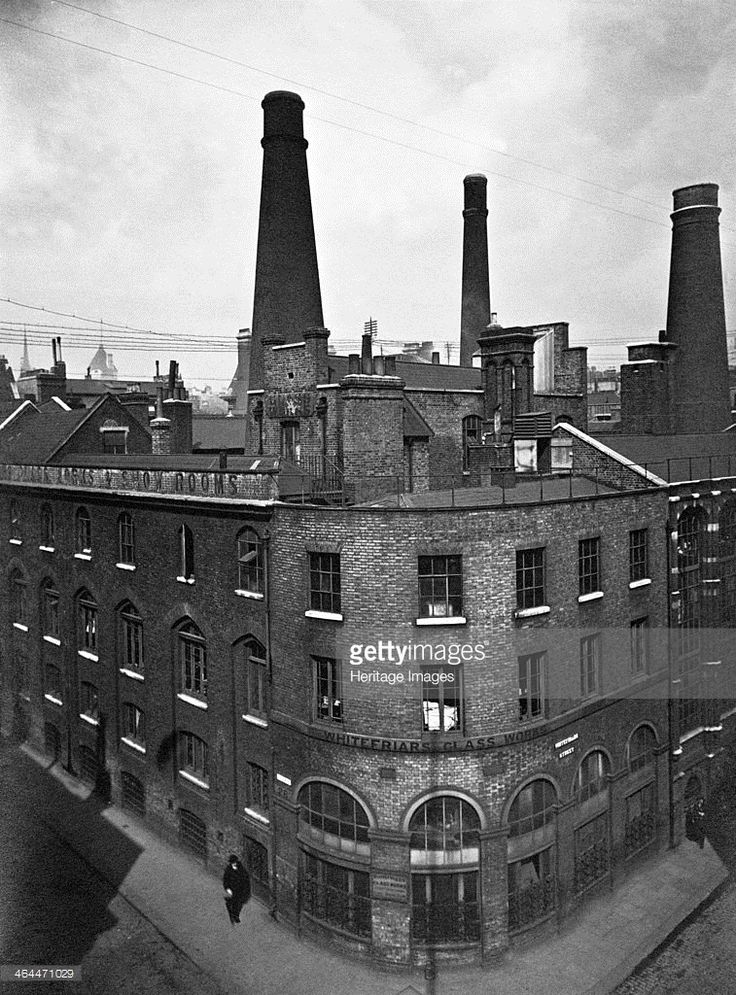 Whitefriars Glassworks, City of London. The glassworks were situated between Fleet Street and the Thames, later moving to Tudor Road, Wealdstone, Harrow, closing in 1980.
