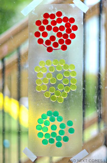 Traffic light suncatcher craft for kids from And Next Comes L