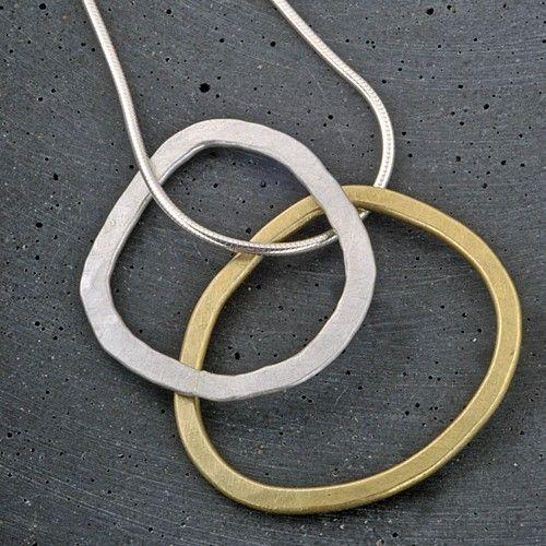 Samantha Maund - brass and silver loop pendant