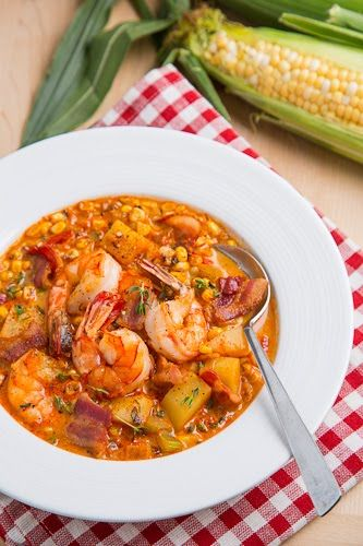 Shrimp and Roasted Corn Chowder (add pureed veggies for an extra veggie serving)