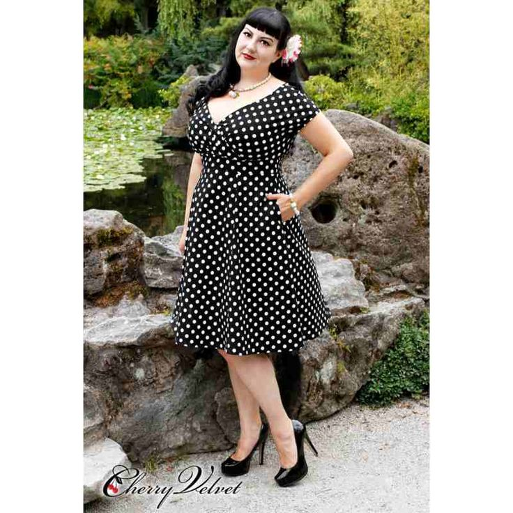 PRE-ORDER - Chrissy Dress (Black and White Dot) $226.00 http://www.curvyclothing.com.au/index.php?route=product/product&path=95_151&product_id=10256