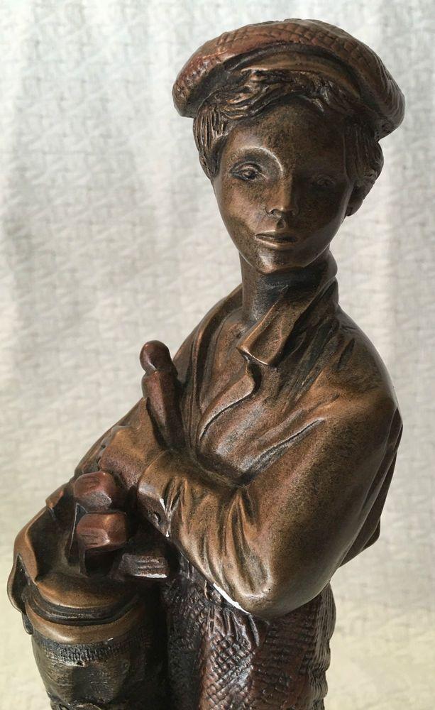 Vtg Austin Sculpture Art 'The Caddy' Golfer Golf DANEL Boy Statue Bronze Figurin
