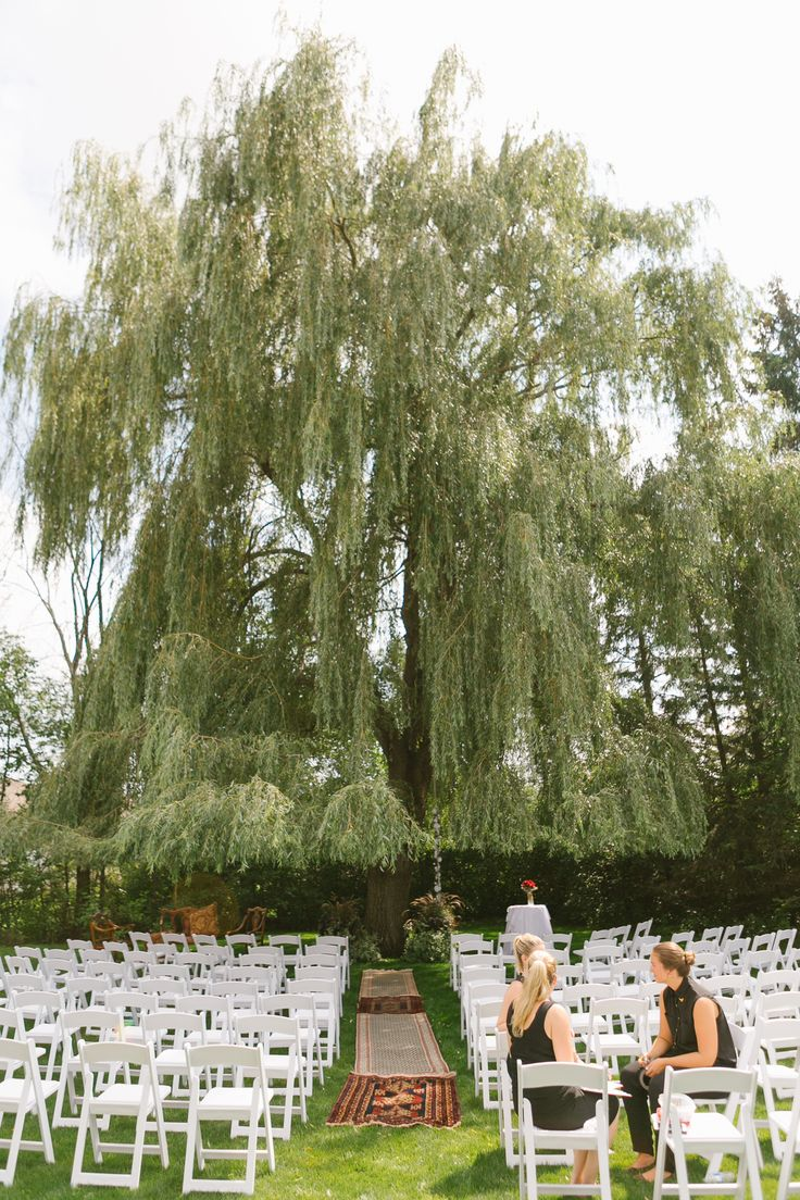 Ceremony under weeping willow tree; PHOTOGRAPHY Joel + Justyna Bedford; Boho wedding ceremony;