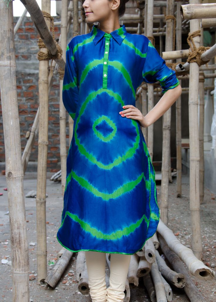Blue Satin Tunic #Vasansi