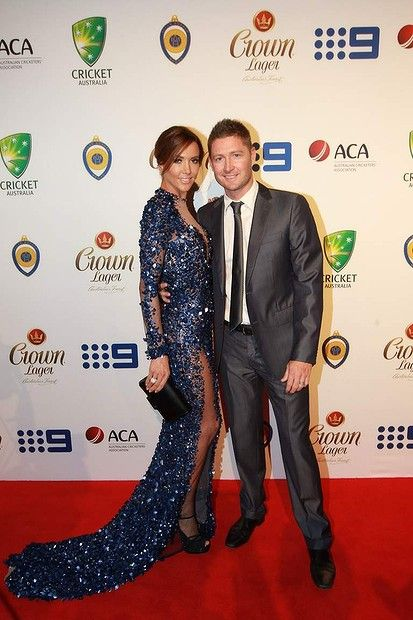Michael and Kyly Clarke.  Allan Border Medal awards 2014