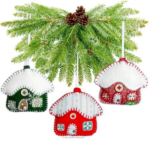 "Snowy Cottage Christmas Ornaments 3"" Paper Sewing Pattern"