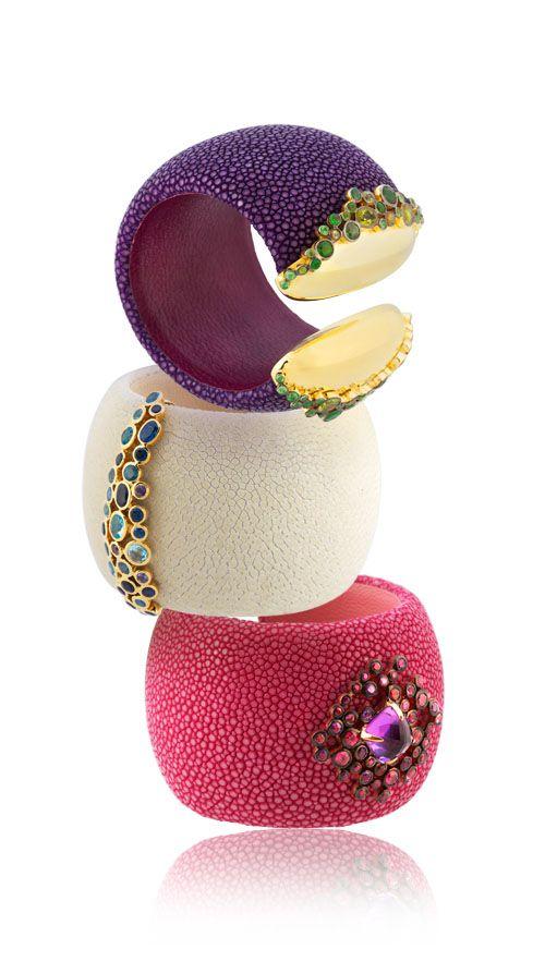 Bangles stingray galuchat gold stone jewels luxury fashion stingray leather Atelier AKNAS bracelet
