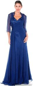 #6230POL-NavyBlue Strap Semi Formal Dinner Dress V Neck (Size S to 3XL-3 Colors)
