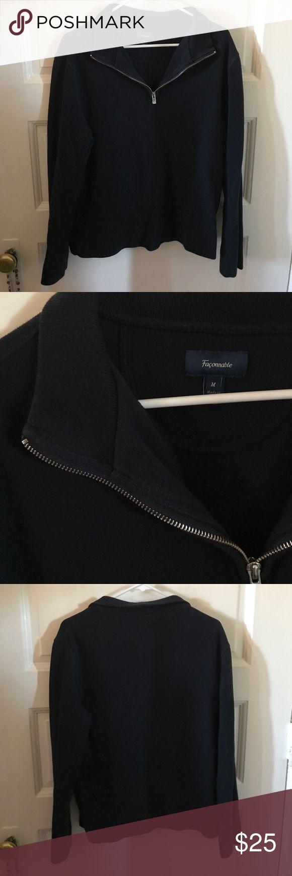 Men's Sweater Dark Navy , half zip Sweater . Like new faconnable Sweaters