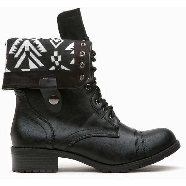CiCiHot Black Faux Leather Aztec Print Combat Boots ($38) ❤ liked on Polyvore featuring shoes, boots, black fold over boots, combat boots, vegan boots, black shoes y fold-over combat boots