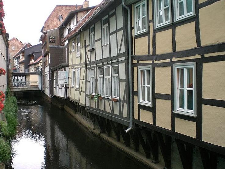 Houses along the river Jeetze in Salzwedel, Saxony-Anhalt, Germany