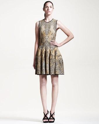 Alexander McQueen Leopard Dragonfly Puckered Jacquard Dress - Lyst