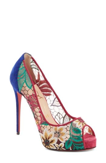 07af434083fe CHRISTIAN LOUBOUTIN VERY LACE FLORAL PEEP TOE PUMP.  christianlouboutin   shoes