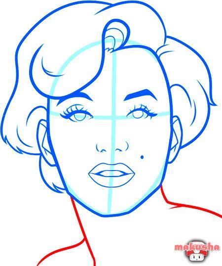 Рисуем портрет Мэрилин Монро поэтапно