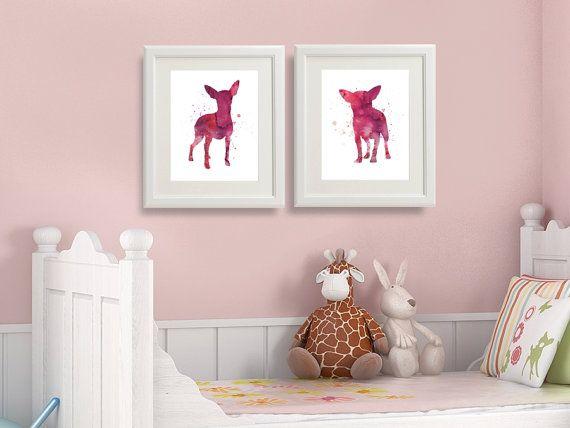 SET of Two Chihuahua Watercolor Art Prints Chihuahua by QPrints