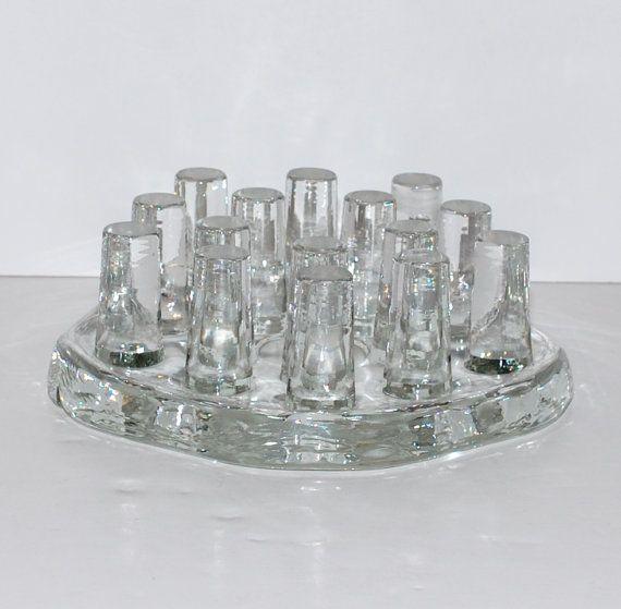 Vintage Modernist Large Glass Candle Holder Wormer by Abundancy, $55.00
