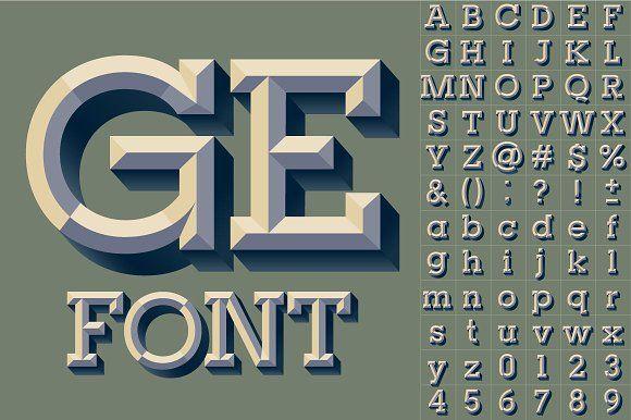 Old school beveled vector alphabet by popskraft lab on @creativemarket