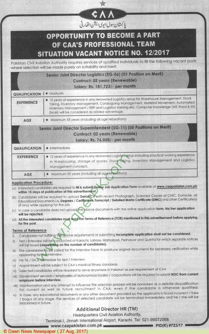Pakistan Caa Islamabad Jobs