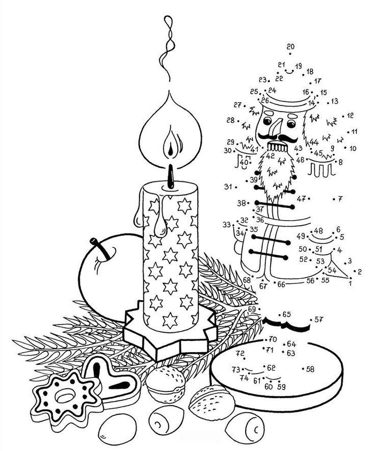 Wenn Ihr Kind die Zahlen von 1 bis 74 auf der kostenlosen Weihnachts-Malvorlage sinnvoll verbindet, erscheint ein Nussknacker neben der brennenden Advenstkerze. Die Malen-nach-Zahlen-Vorlagen erhalten Sie für Ihr Kind gratis zum Download.